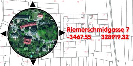 Plandarstellung mit Adresse, Koordinaten und Luftbildausschnitt
